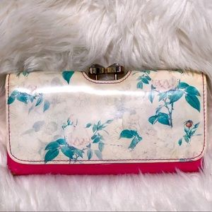 Ted Baker Pink Rose lg Rhinestone clasp Wallet